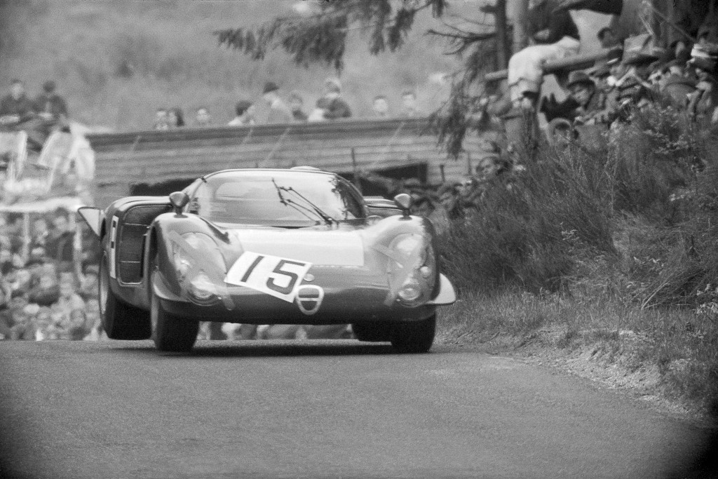 Three wheels off the ground at the 1968 Nurburgring 1000kms.