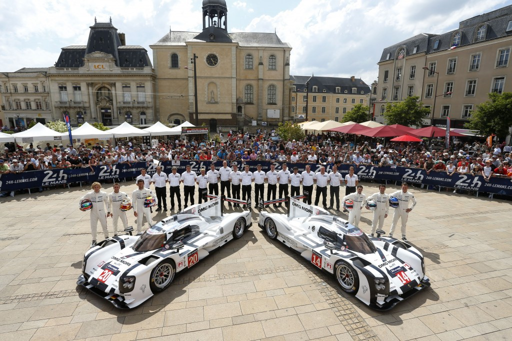Porsche_Team_919_Hybrid_Le_Mans_2014_Brendon Hartley_Timo Bernhard_Mark Webber_and_Neel Jani_Romain Dumas_Marc Lieb