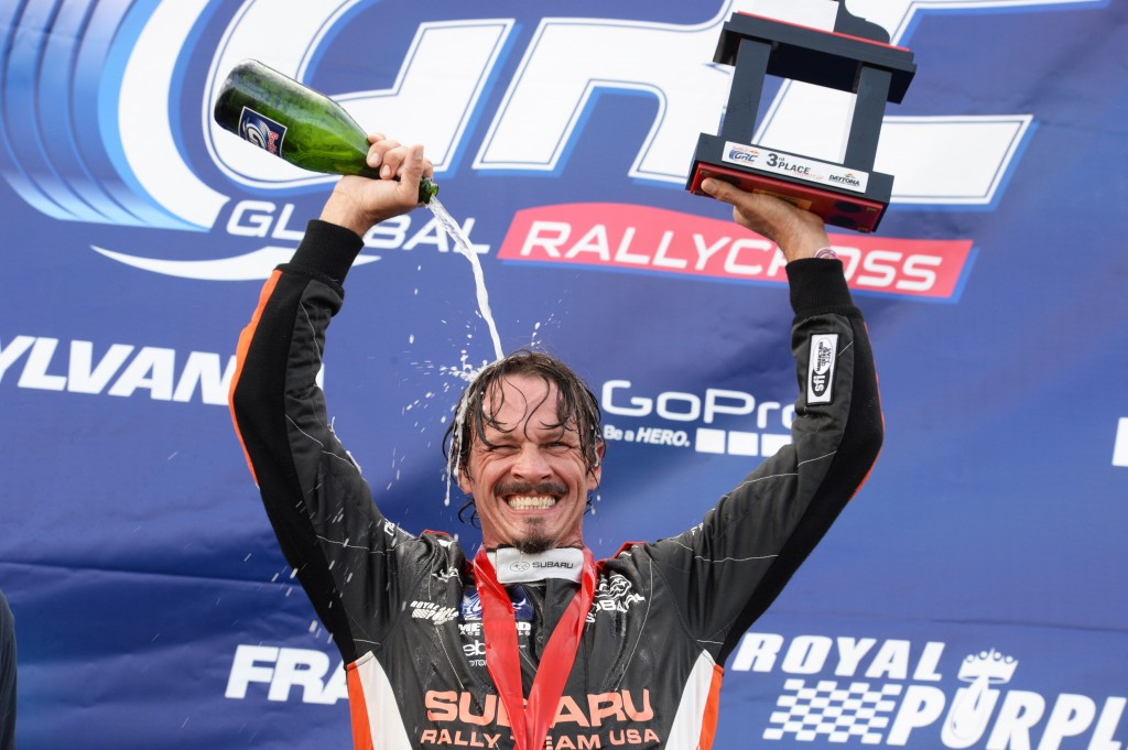 Subaru driver Bucky Lasek cools down after claiming his second GRC podium this season.
