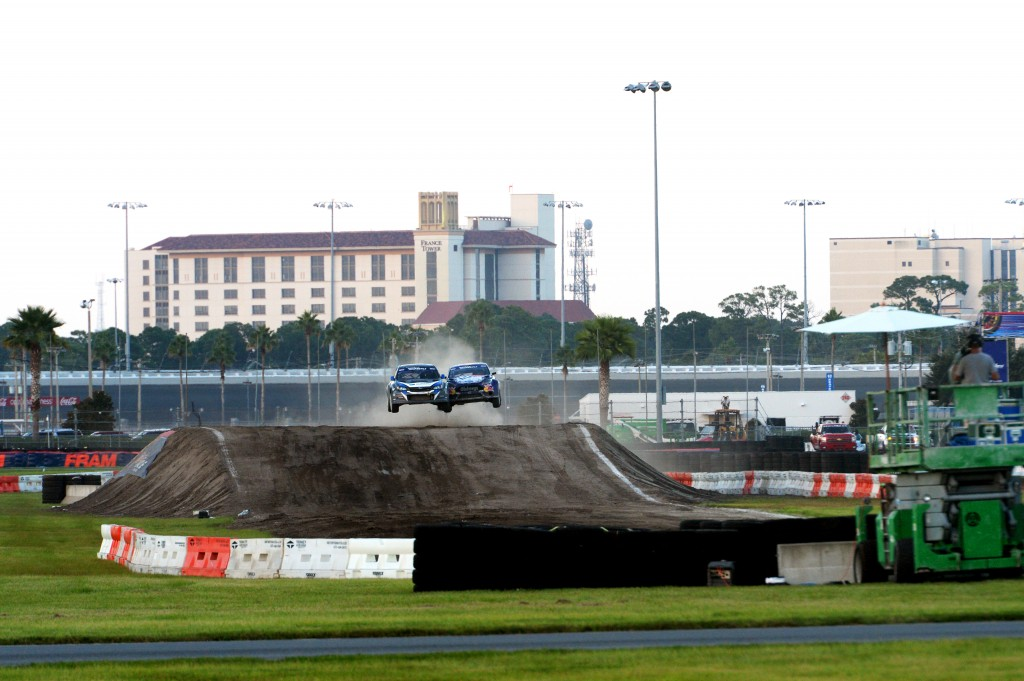 Subaru driver Sverre Isachsen trades paint mid-air during Red Bull Global Rallycross in Daytona.