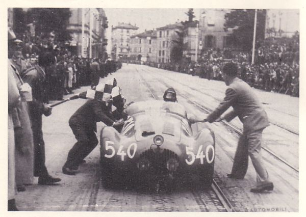 Luigi Fagioli at the Bologna control in the 1950 Mille Miglia.