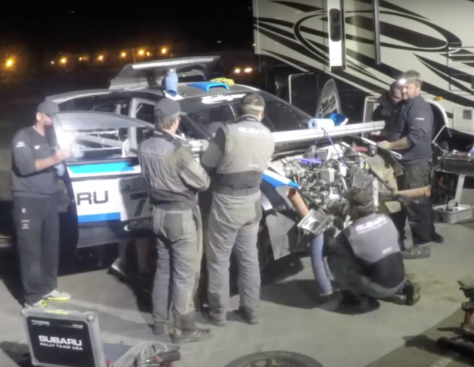 Watch Team Subaru Swap An Engine In 48 Seconds