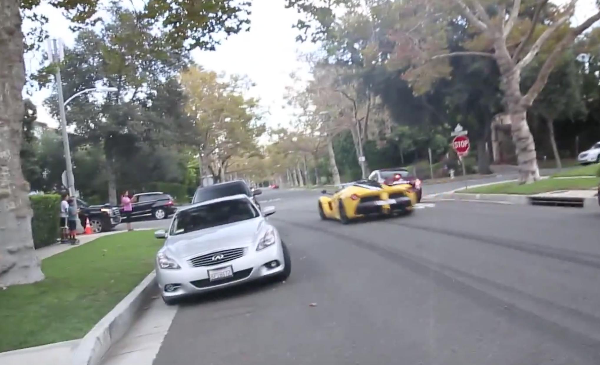 La Ferrari beverly hills blowing stop sign
